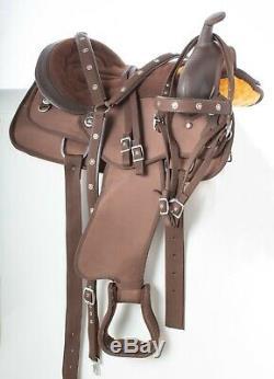 Beautiful Brown Western Pleasure Trail Cordura Horse Saddle Tack 16 17 18 Used