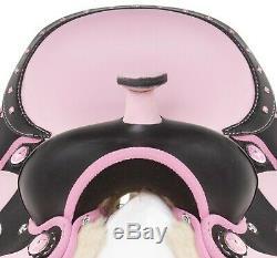 Beautiful Pink 16 Western Synthetic Trail Horse Saddle Tack Used Set
