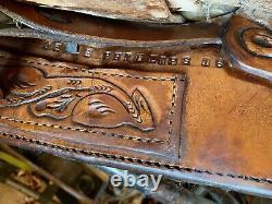 Beautiful Used/vintage Longhorn 15 buckstitched Western Arabian saddle VGC