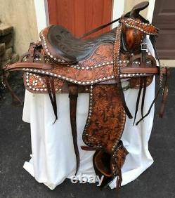 Big W Western Saddle Vintage 15 Spotted Set w Headstall+Breast Collar+Tapaderos