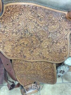 Blue Ribbon Western Show Saddle, Floral Tooled With Silver Accents