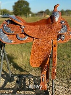 Bob's Custom Saddle silver western show 15.5 padded Excellent Condition