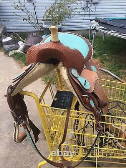 Brown And Blue 14 15 Western Saddle