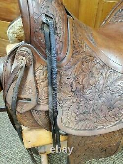 Buck & Knapp Antique Western Saddle with 14 Seat includes Matching Headstall