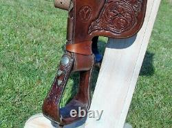 CIRCLE Y 15-1/2 TOOLED Loaded Silver Western Show Pleasure Trail SaddleNICE