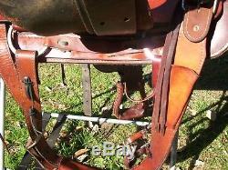 Circle M Ranch Roping Saddle A H High Back Slick Seat16 Nice