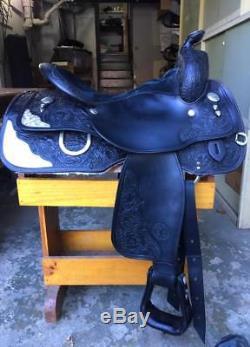 Circle Y 15 1/2 Black Silver Western Show or Pleasure Saddle