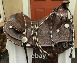 Circle Y Arabian Vintage Saddle Set w Silver Ferruled Headstall Rommel ReinsBC