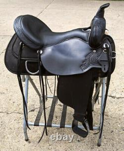 Circle Y High Horse Cordura Saddle 17 Western Wide Tree Trail Black Synthetic