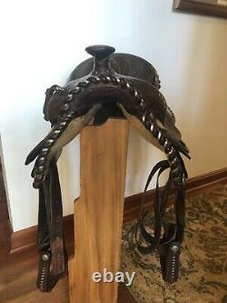Circle Y Vintage Western Equitation Saddle 15.5 Fully tooled
