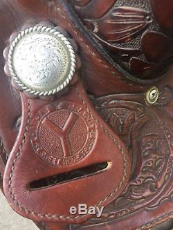 Circle Y Western Equitation 16 inches Saddle Silver Inlay