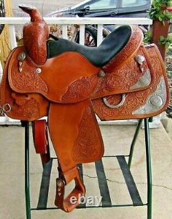 Circle Y Western Equitation Show Saddle, 14.5 Seat, Lots of Silver