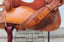 Cleburne Reining Western Saddle 16 Seat Floral 1/2 Tooled Sterling Overlay FQHB