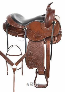 Comfy Classy Trail Leather Horse Gaited Used Western Trail Saddle Tack 16 17 18