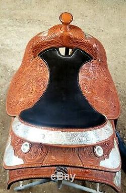 Corriente Western Pleasure Equitation Show Medium Oil 16 Saddle LOTS OF BLING