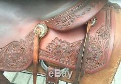 Cow Horse Gear Custom Partial Floral Tool Cutting Saddle 17 Seat Wide Tree
