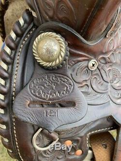 Flashy used 15 Buford tooled dark oil leather Western saddle withsilver US made
