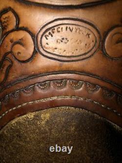GARRY McCLINTOCK WESTERN SADDLE VTG EXCELLENT FLORAL TOOLED RAWHIDE