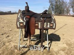Gene Bader cutting western saddle 16 inch great for working cow horse