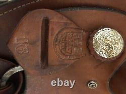 H&H brown leather western roping saddle 16