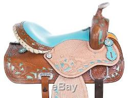 Hand Carved Blue Western Leather Quarter Horse Saddle Trail Used 17