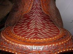 Hand made, hand carved Leather Western Roping Saddle 16 Beautiful seat FQHB
