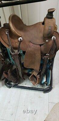 Heart Of Texas Ranch Roper Saddle Leather Rough Out Western Horse Tack 14.5