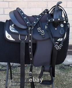 Horse Saddle Western Used Trail Barrel Pleasure Cordura Tack Black 14 15 16