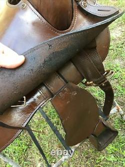 King Series brown leather Western draft horse trail saddle 16 used