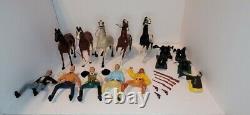 Large Lot Vintage Hartland Plastics Cowboy, Indian, Horses, Saddles, Guns & Hats