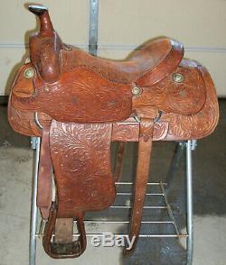 Longhorn Simco Western Horse Saddle Genuine Tooled Leather 16 Seat Fqhb Nice