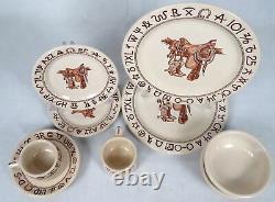 Lot 10 Pc Wallace Westward Ho Boots Saddle Western China Dinnerware Plates Bowls