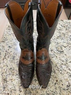 Lucchese Mens Beauford Brown Saddle Hornback Caiman Boots Size 11D