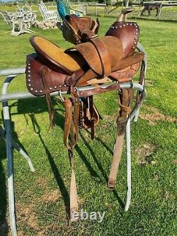 Nice Used/antique 11 A fork Western pony saddle withtapaderos, original cinches