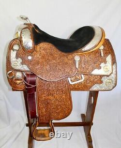 PHIL HARRIS Western Show Saddle Silver WithGold Trim 15 1/2 Seat FQHBars VGC