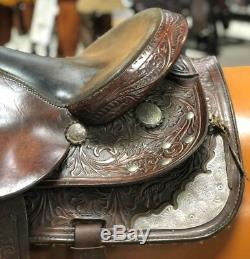 PRICECUT! Crates 16 Western Show Saddle Tooling & Silver #149M Used-Great Cond