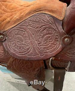 Pre Owned 16 Western Leather Horse Saddle With Tooling
