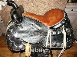RARE TED FLOWERS Horse & Deer head Western Parade Saddle Tapaderos breastplate