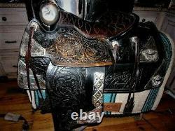 RARE Ted Flowers SHRINERS Western Parade Saddle BridleTapadaros huge breastplate