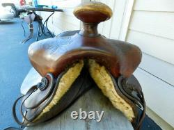 Rare Fred Hook Western Leather Saddle 17 Hand Tooled Champion Turf Blevin