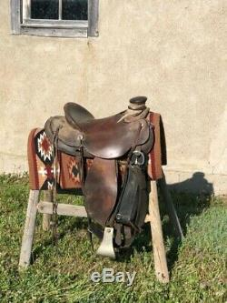 Rare Jeff Hanson Wade Roping, Trail, Western Ranch 16 Saddle with stirrup twists