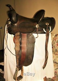 Rare Vintage Antique Fred Mueller Western Hi-back Ranch 15 Saddle