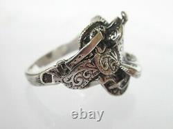 Retired James Avery Sterling silver Western Saddle Ring size 10.25