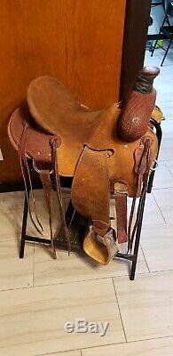 Robert Teskeys Ranch Roper Western Saddle Leather 15.5 Fqhb Horse Tack Rodeo
