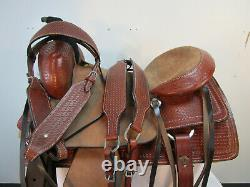 Roping Saddle Western Horse Ranch Pleasure Tooled Used Leather Tack Set 17 16