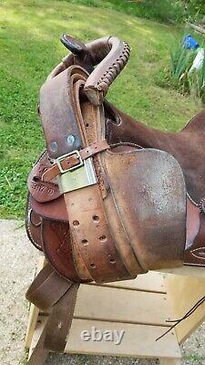 Sandstone Western Leather Floral tooled Trail Barrel Pleasure horse saddle 15.5
