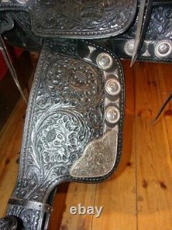 Silver Marshall Field Hand Made Western Parade Saddle, Bridle Long Tapaderos