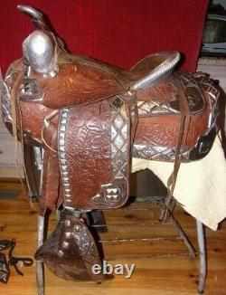 Silver Ted Flowers Parade Saddle, Bridle, Breastplate Rare Brown Leather