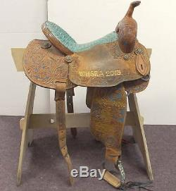 Slone Gold Series Barrel Racing Trophy Saddle Gold Turquoise
