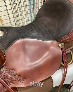 Synthetic Big Horn Western Saddle 17 Seat Red/Brown